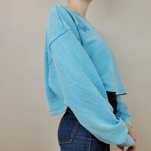 ONLY blue boxy cropped sweater tres bein